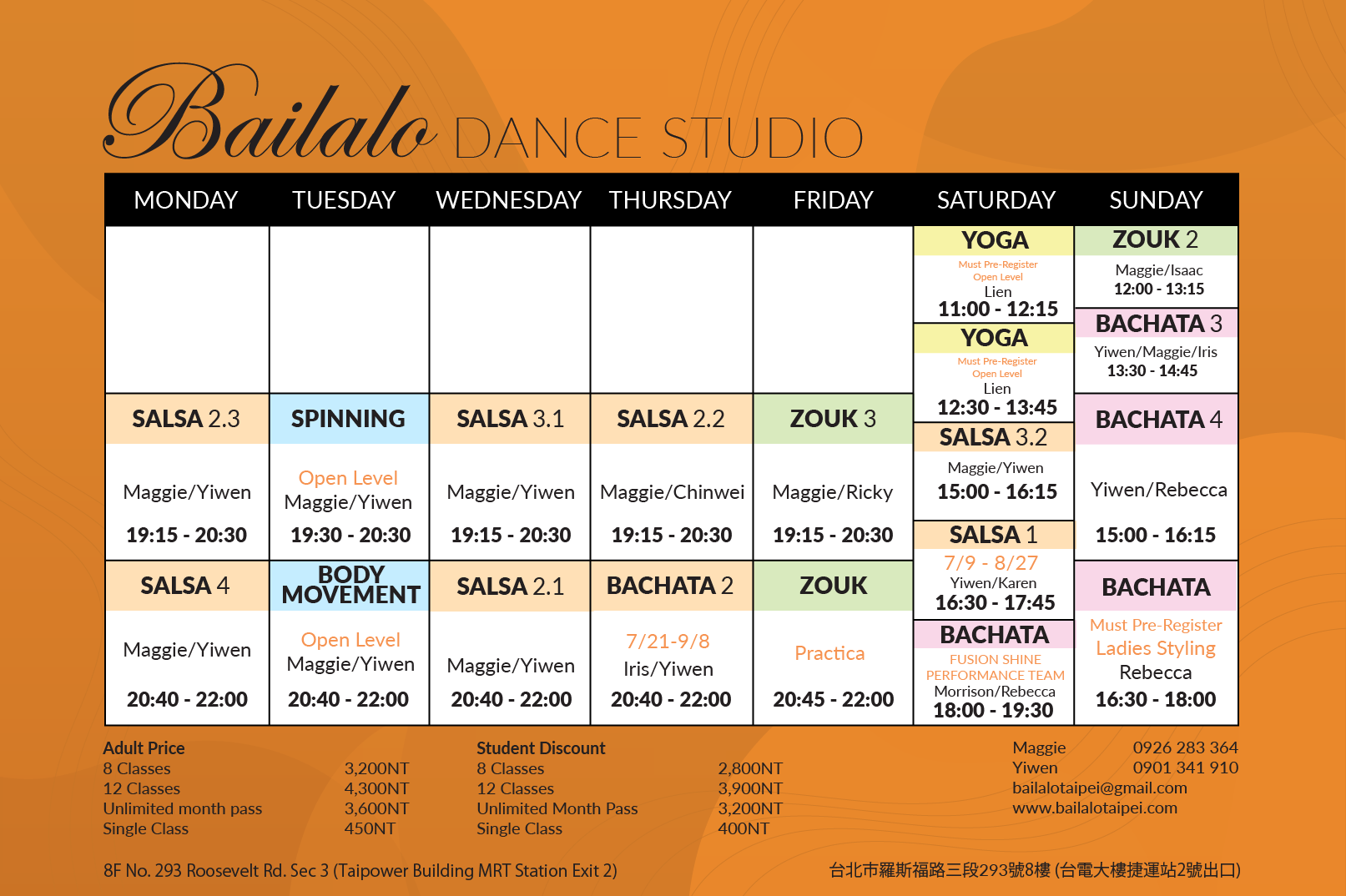 Bailalo Salsa Classes in Taipei Schedule